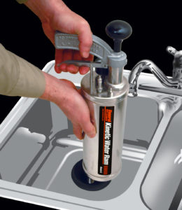 Kinetic Water Ram - clears slow draining tubs and showers